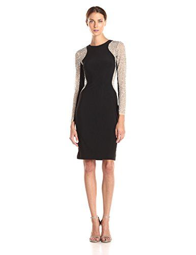 4c281e74 Xscape Women's Short Ity Beaded Long Sleeve Dress, Black/Nude/Silver, 10