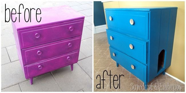 Little dresser turned into LITTER Dresser! {Sawdust and Embryos} - I can think of other uses for a converted dresser like this - good tutorial