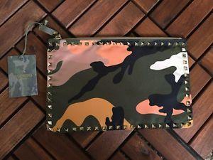 Valentino Rockstud Camouflage Nylon Clutch