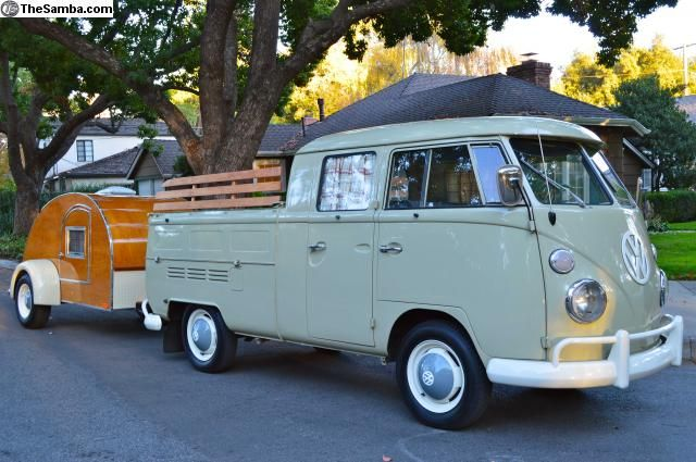 1967 Vw Double Cab With Custom Matching Trailer Price 75000campbell Ca Vintage Pickup Trucks Vintage Volkswagen Bus Vw Pickup Truck
