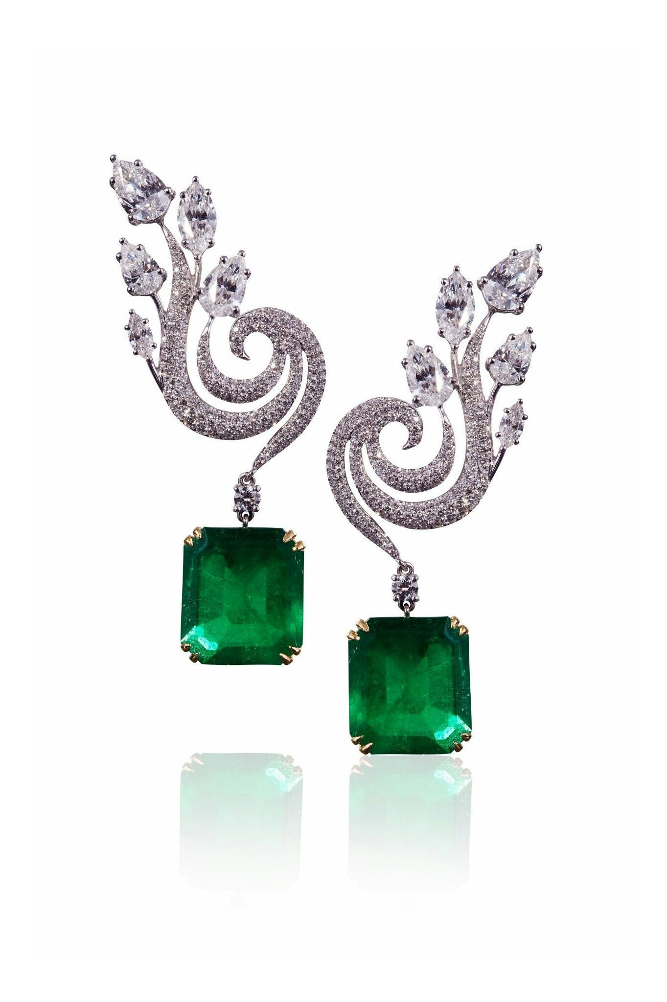 The Phoenix Earrings by Molu Fine Jewellery with emeralds and
