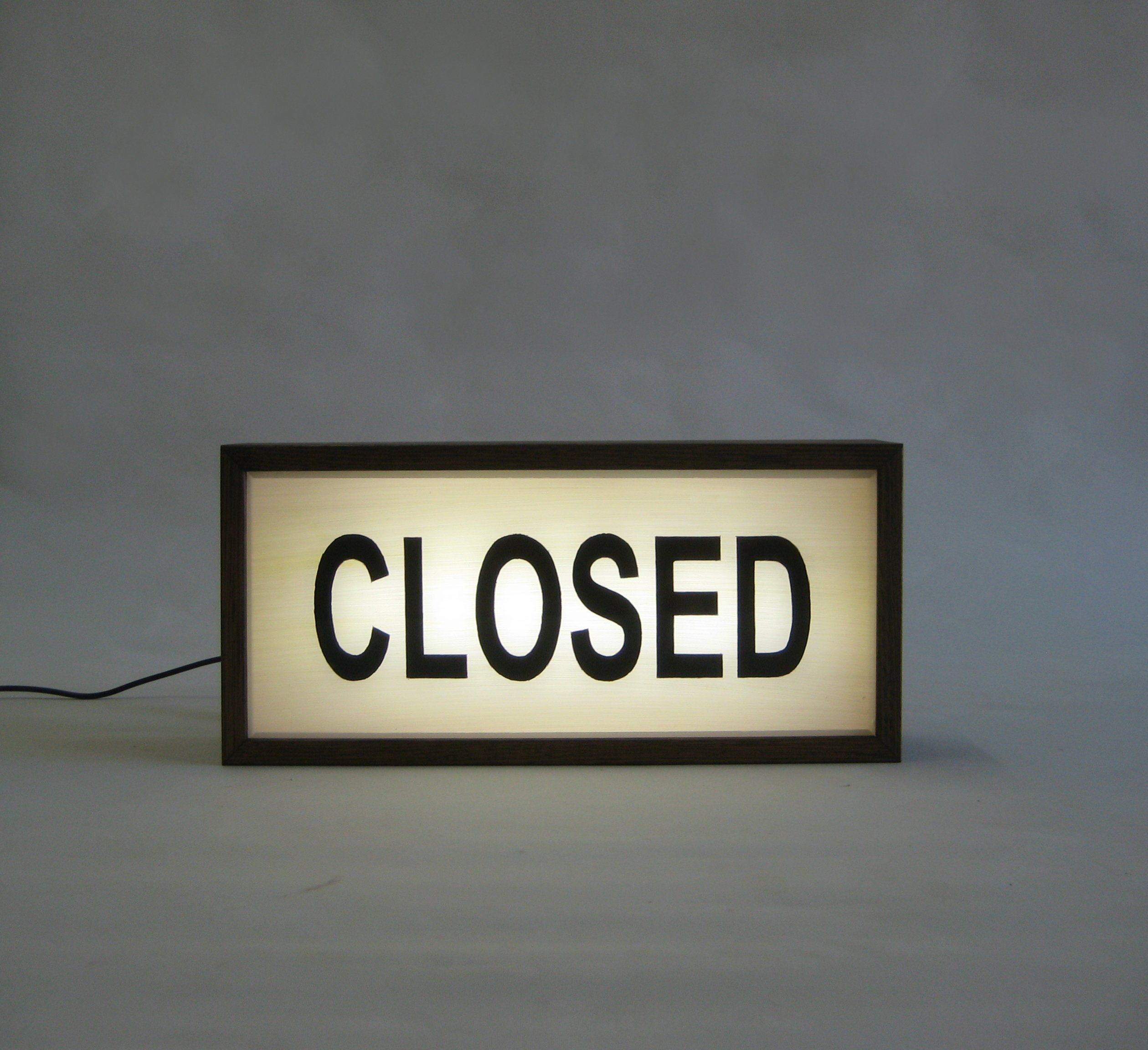 Closed Wooden Lightbox Sign Handcrafted Lighted Hand Painted Signs Light Up Signage Business Window Sign 35 X 16 Cm Timber Light Box Light Box Sign Light Box Wooden Light