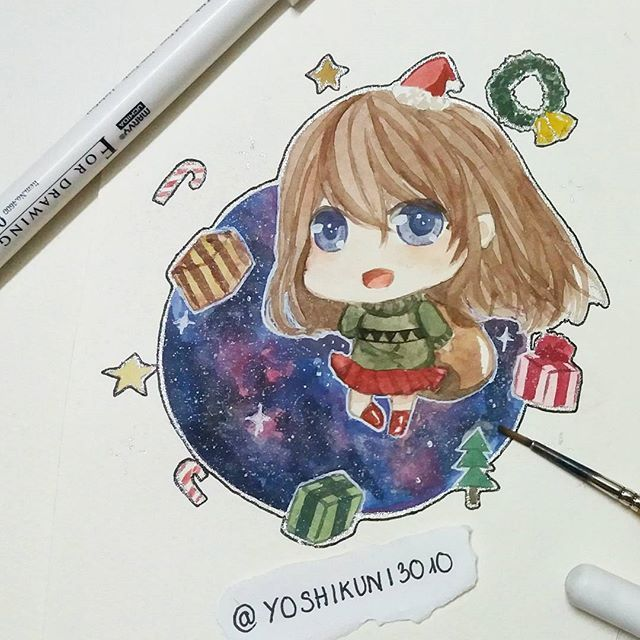 Credit To Instagram Yoshikuni3010 Watercolor Christmas Anime Art Manga Girl Christmas Watercolor Anime Anime Art