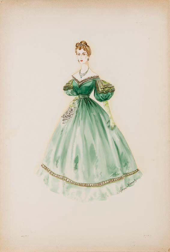 667: Costume sketch for Donna Reed Green Dolphin Street : Lot 667