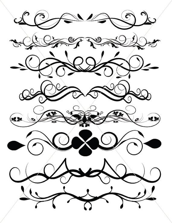 Flourish SVG Divider Lines Ornamental Borders by TuiTrading