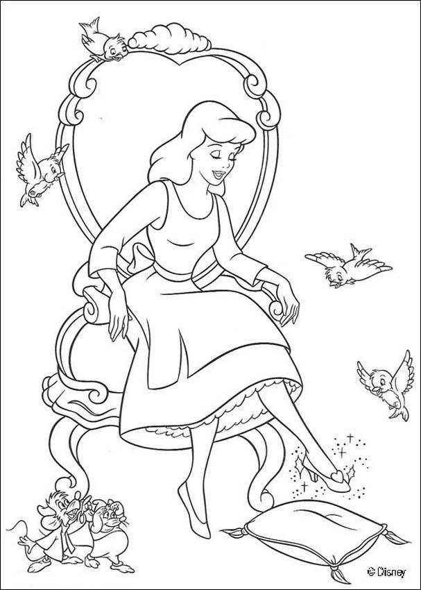 Www Hellokids Com Print Page Cinderella Trying Her Slipper Malvorlage Prinzessin Ausmalbilder Disney Farben