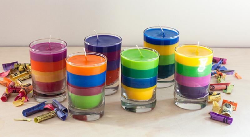 fabriquer de belles bougies avec des restants de craies de cire materiaux de r cup. Black Bedroom Furniture Sets. Home Design Ideas