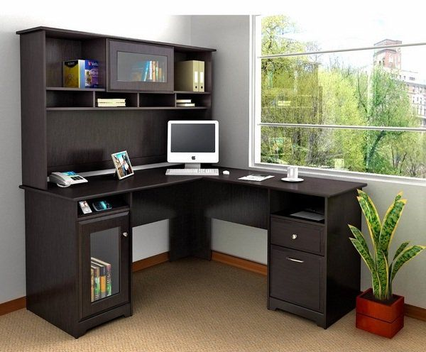 wooden small corner desk shelf and drawers home office furniture