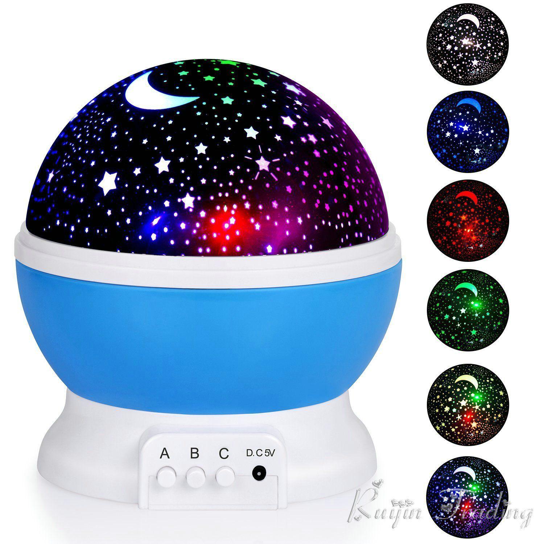 Kids Baby Nursery Night Rotating Star Projector Novelty Light