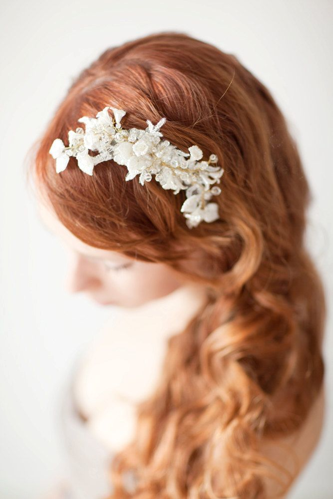 Bridal Fascinator, Head Piece, Hair Piece, Wedding Hair Accessory, ivory, gold, lace - Pearls and Twigs. $165.00, via Etsy.