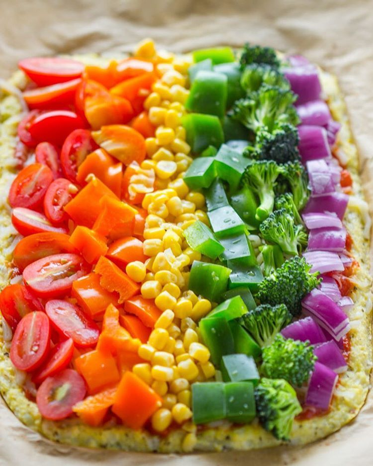 Delicious low carb rainbow cauliflower crust pizza by Instagram user ...