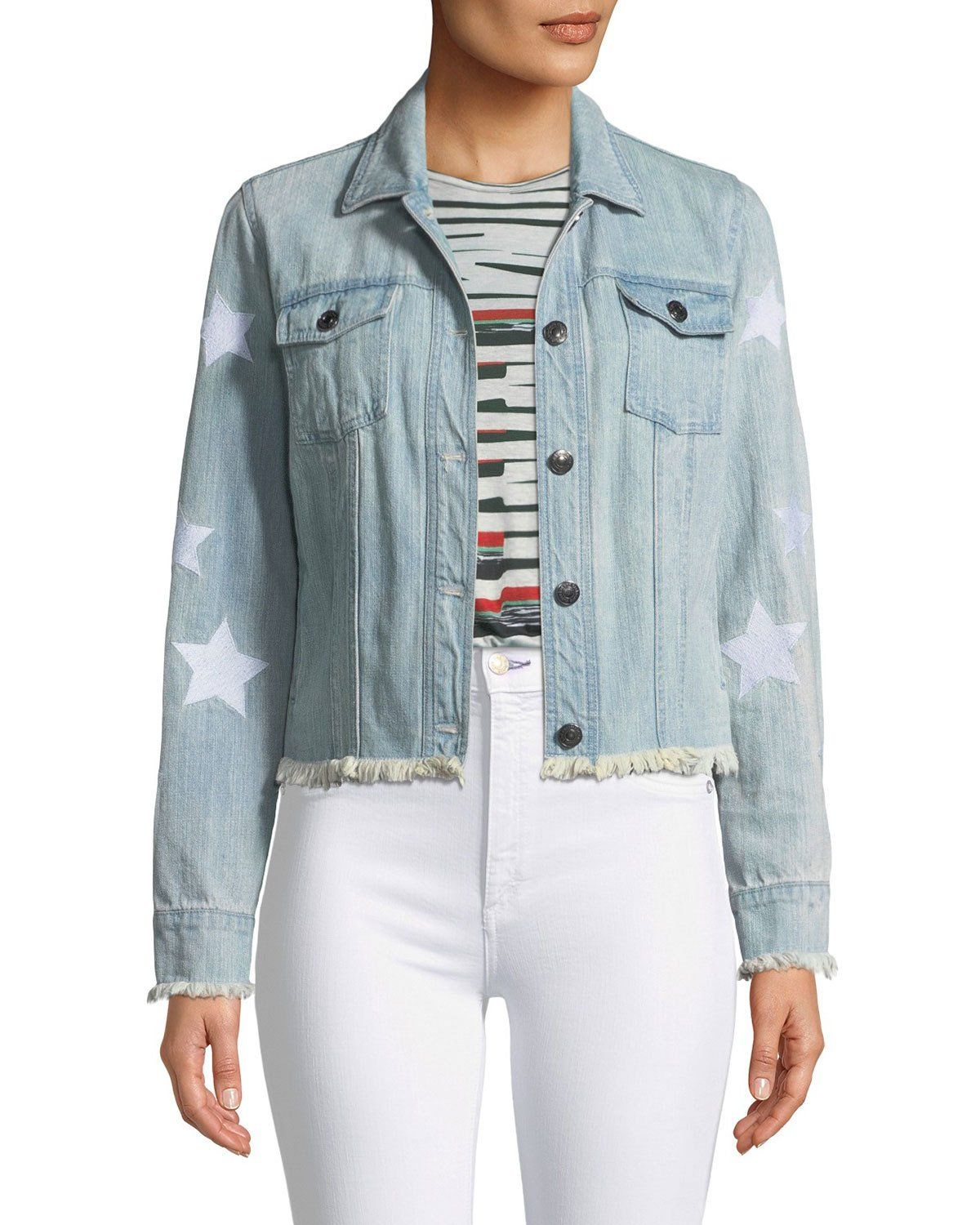 303347e86 Cupcakes and Cashmere Affleck Frayed Denim Jacket | Neiman Marcus ...