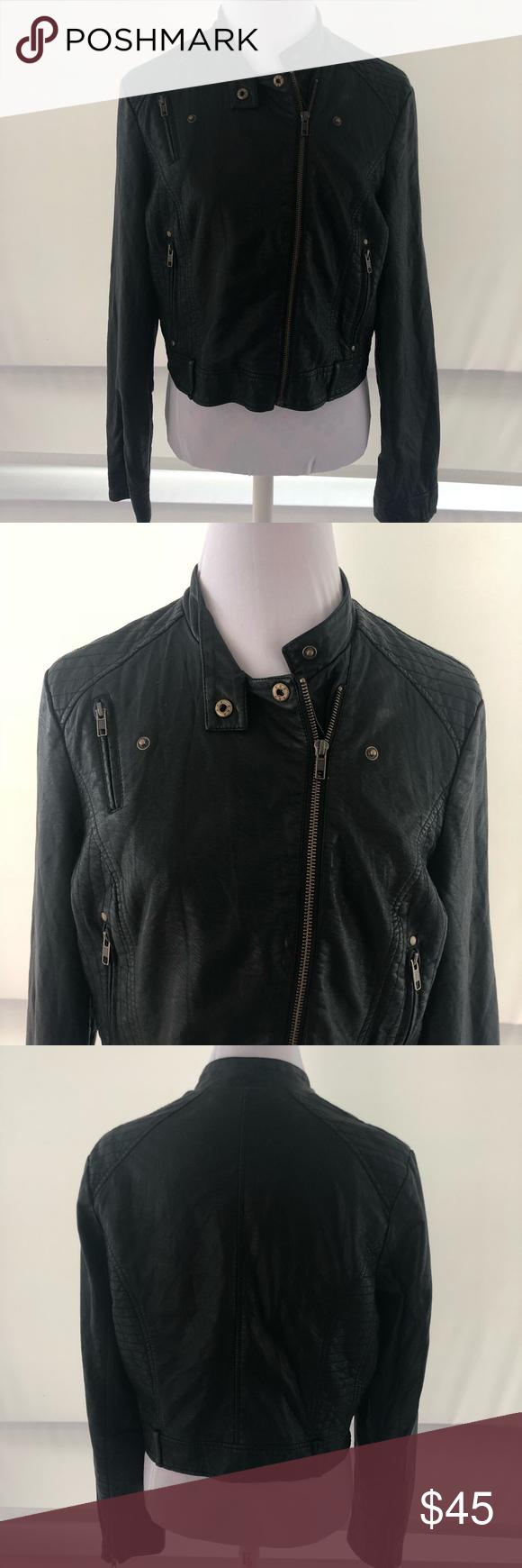 Large Lauren Conrad Black Faux Leather Crop Jacket