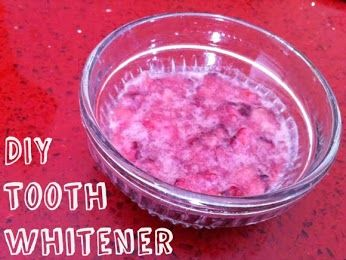 Mix a mashed berry with a little baking soda. Its a natural tooth whitener.