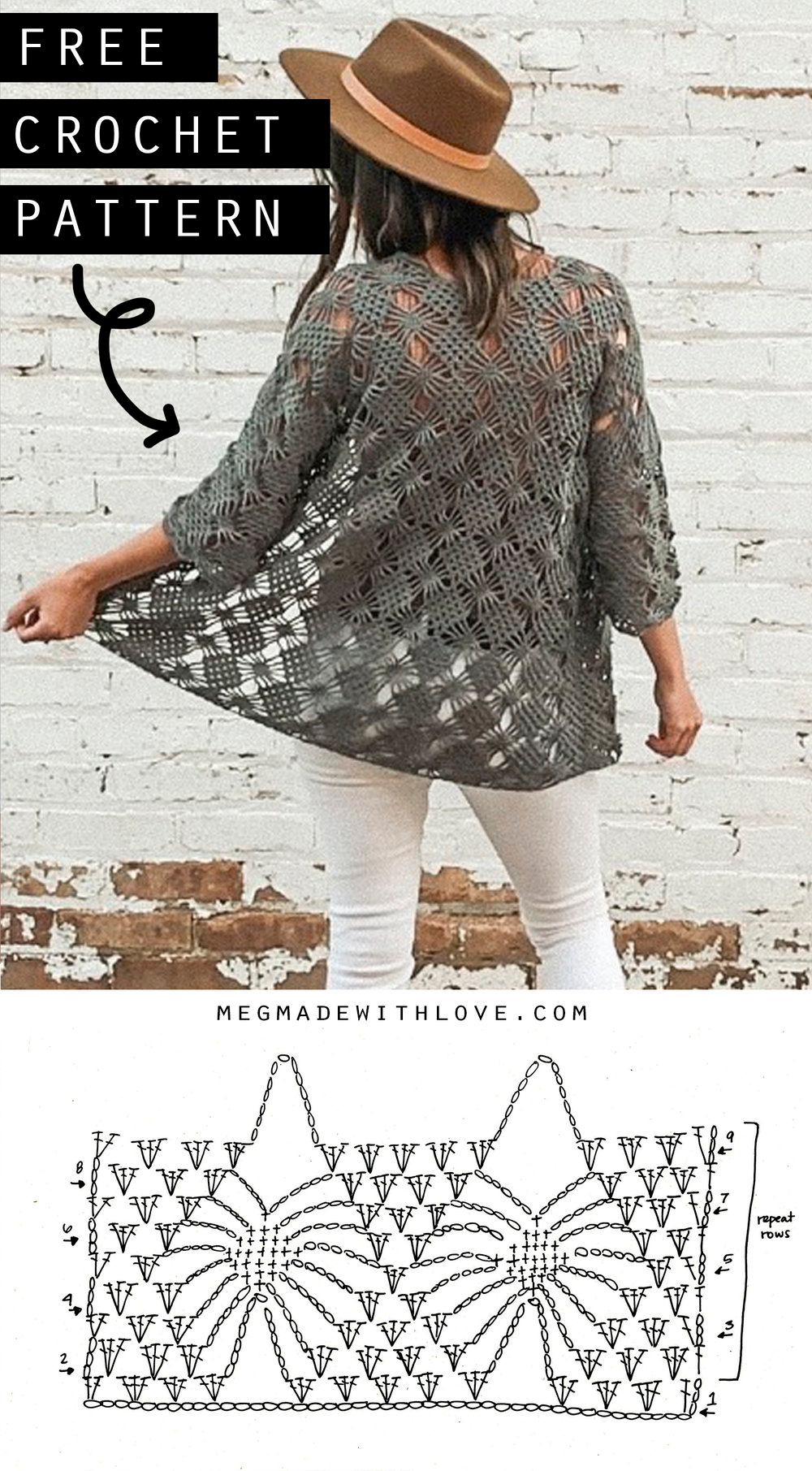 The Webwork Cardigan - Free Crochet Sweater Pattern — Megmade with Love