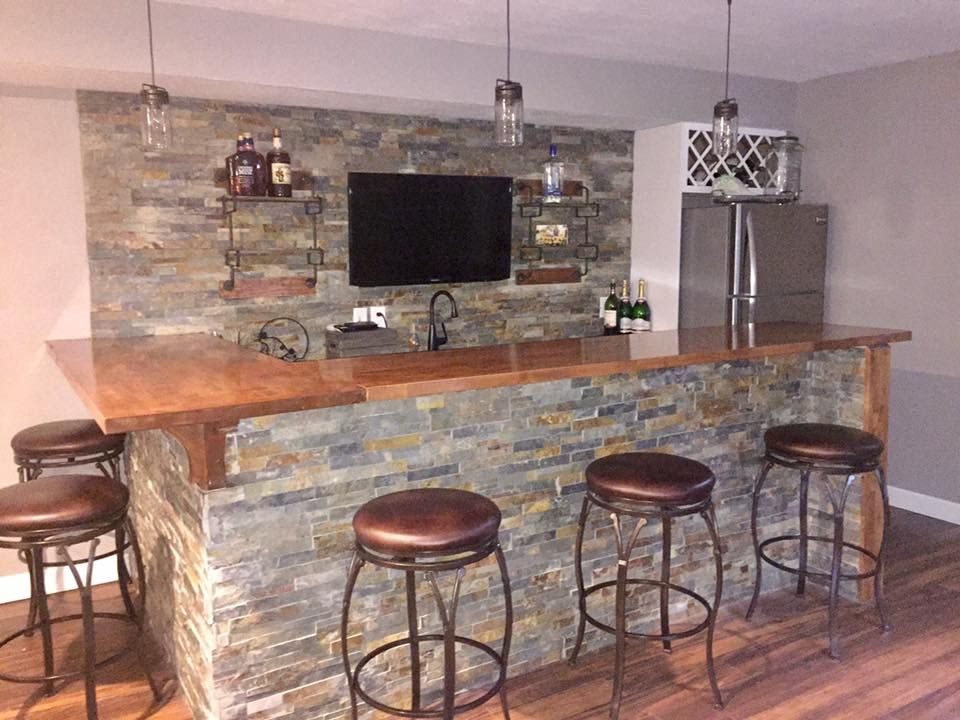 Basement Bar Ledge Stone And Butcher Block Man Cave Sports Den Wet Bar Tv Behind Bar Classymancave Wet Bar Basement Bar Man Cave Basement Bar