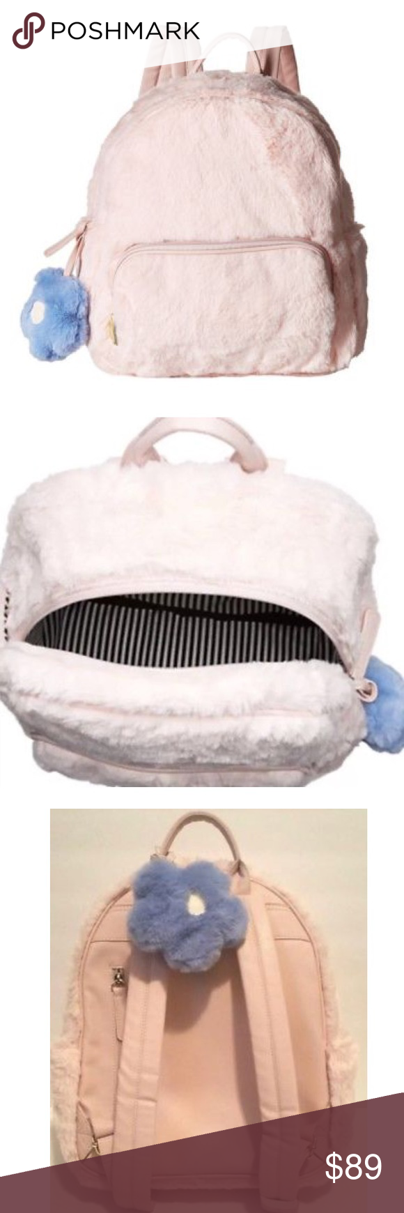 8fda054d0 Betsey Johnson Fuzzy faux Fur Backpack Blush Plush Pink faux fur Betsey  Johnson backpack. Comes with blue daisy flower charm. Great for teens or  adults.