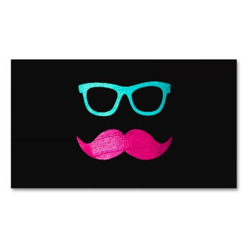 Funny Pink mustache teal hipster glasses Black Business Card ...