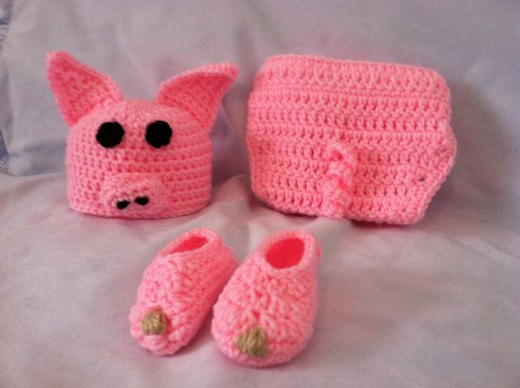 Crocheted Baby Pig Hat / Diaper Cover Photo Prop / Halloween costume on Etsy, $38.00