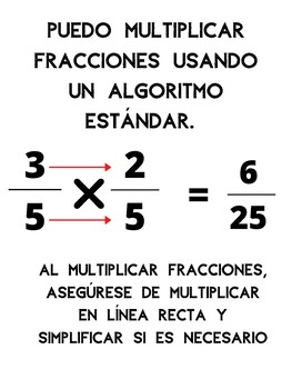 Multiplying Fractions anchor chart in Spanish and English