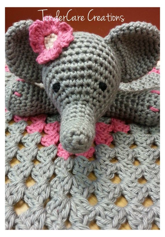 Crochet Elephant Lovey, Security Blanket, baby blanket, Nursery blanket, baby shower gift #securityblankets