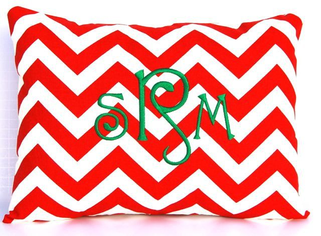 Monogrammed Pillow Red Chevron Christmas Pillow Cover with Insert Embroidered 12 x 16 Personalized Gift Housewarming Gift Baby Wedding. $35.00, via Etsy.