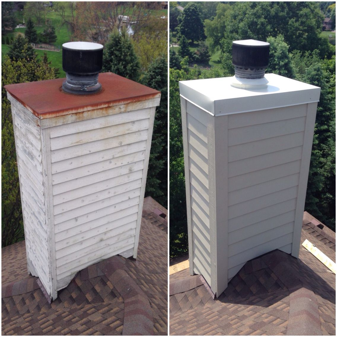 This old (rotten) wood chimney got the makeover it