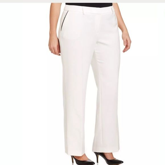 c018d2fc615de Jones New York plus size Trousers Plus size faux-Leather Trim wide leg Trousers  size 16W