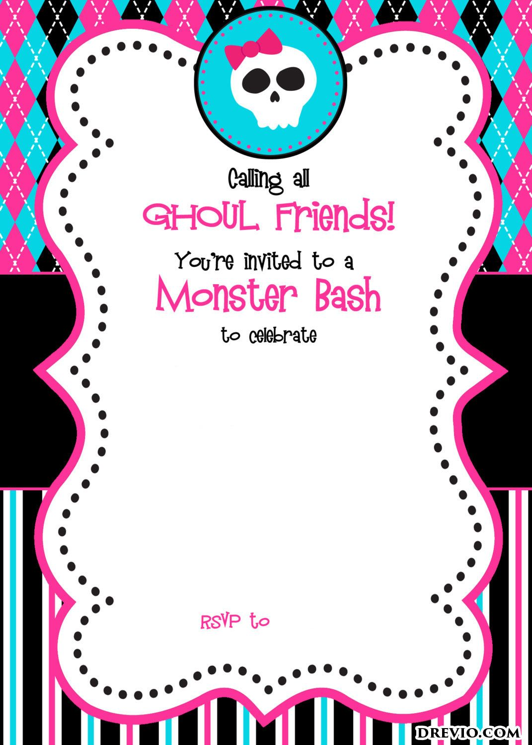 photograph relating to Free Printable Monster High Invitations identified as Free of charge Printable Monster Significant Birthday Invites Monster