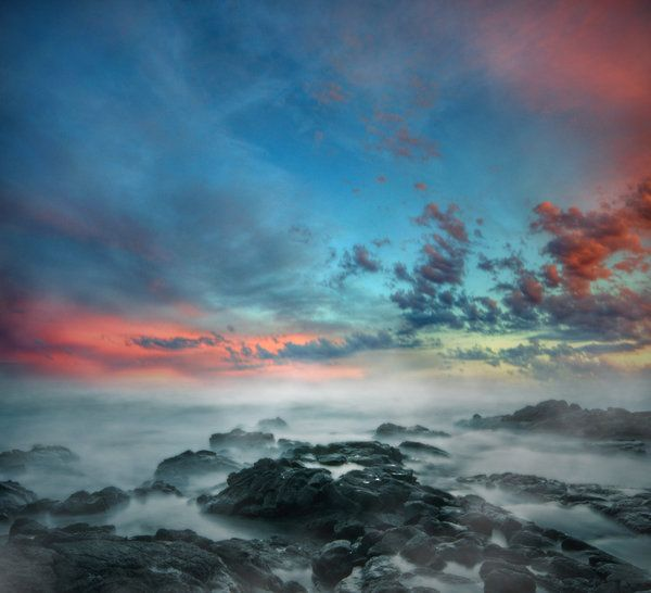 Misty Sea Premade Background by little-spacey on deviantART