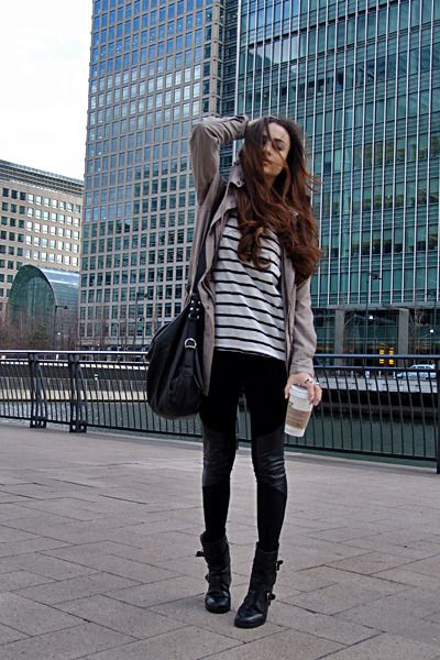 Striped Shirt Green Parka Army Black Leather Panels Leggings Black Slouchy Bag Black Biker Boots Silver Studded Accessories