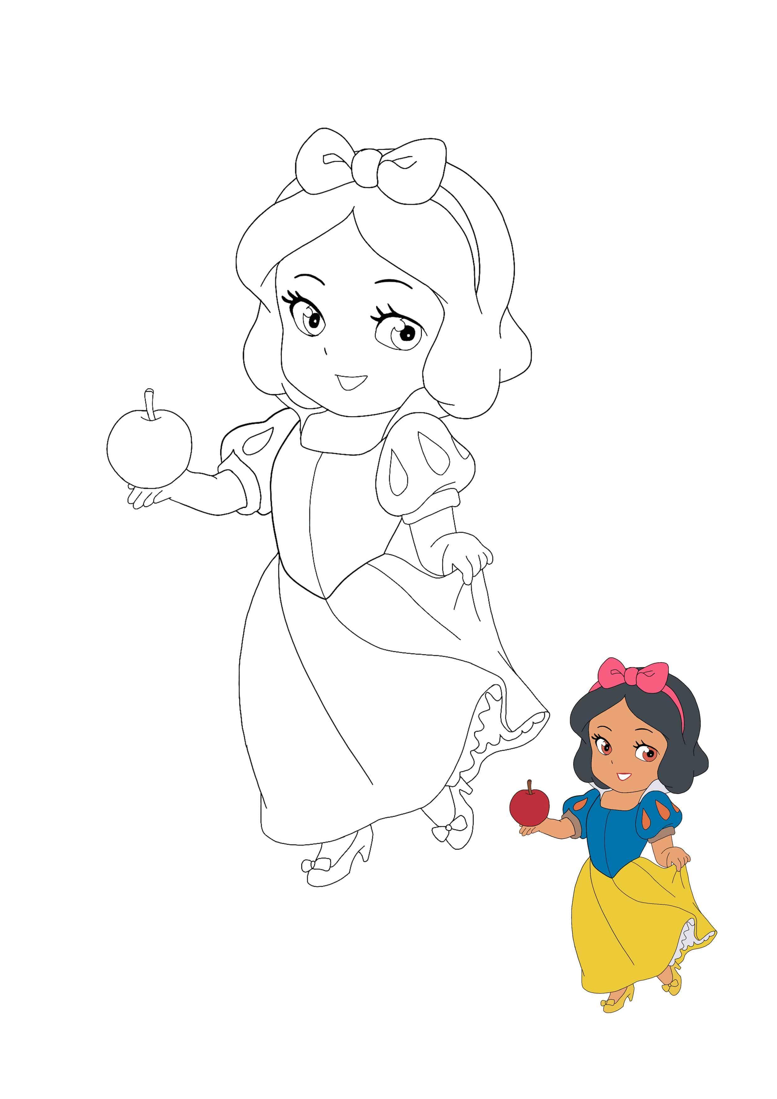 Kawaii Disney Princess Snow White Coloring Page With Preview Disney Coloring Pages Coloring Pages Free Printable Coloring Sheets