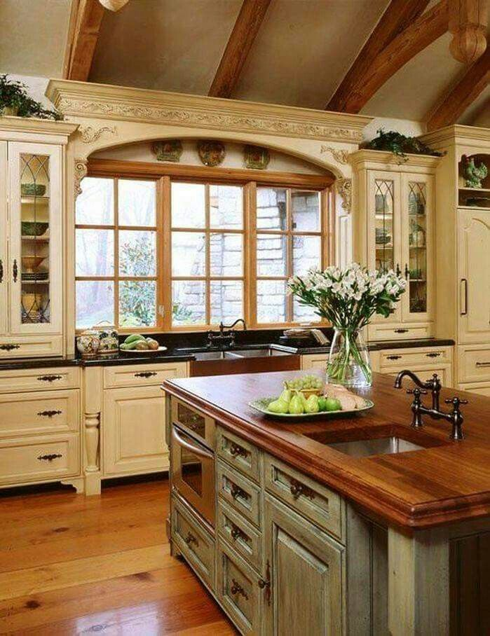 French Country Kitchen off white cabinets grey