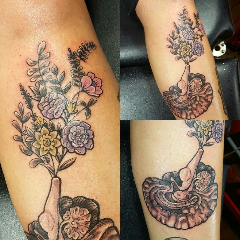 Anatomical Brain And Spring Wild Flowers Tattoo By Bryan