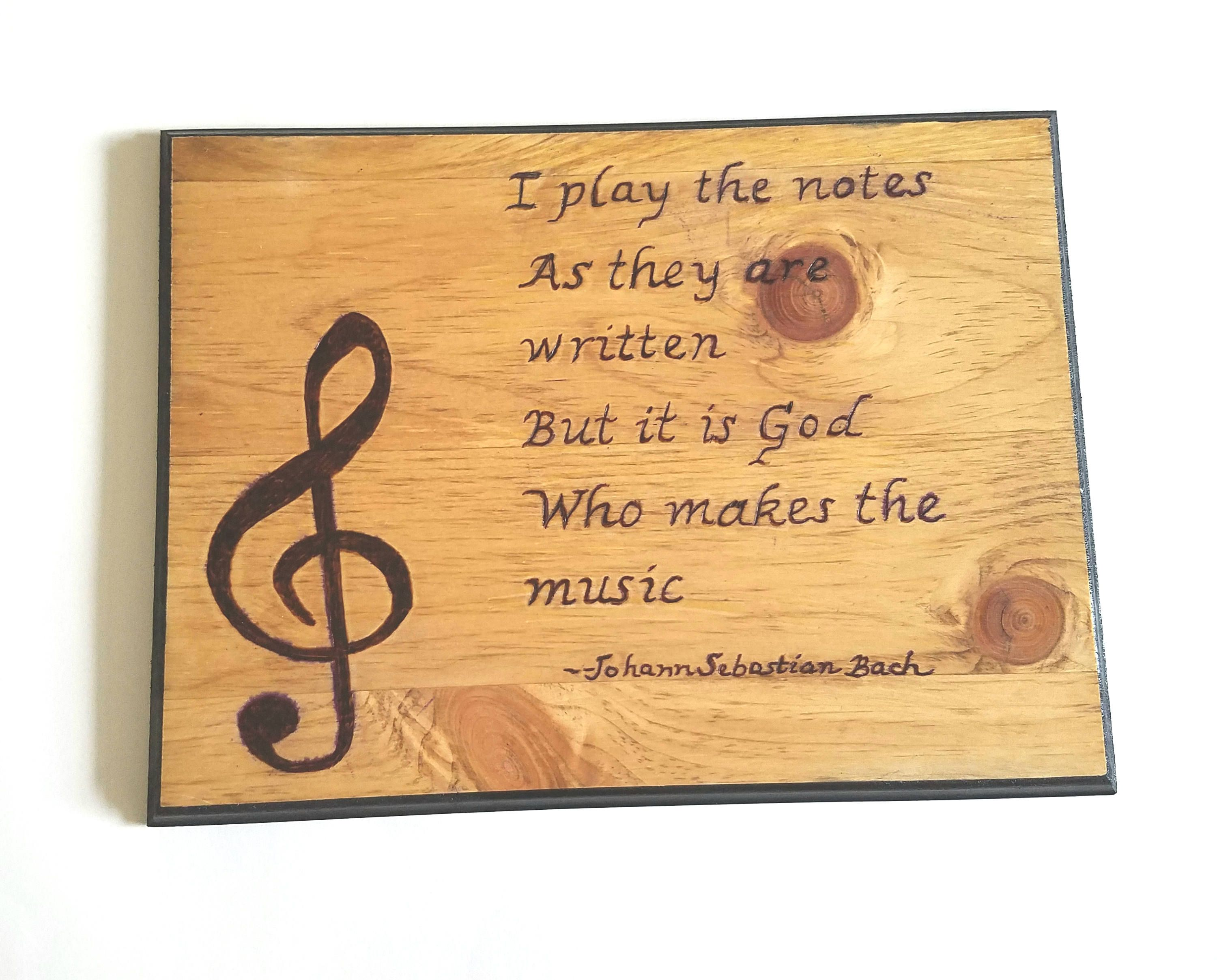 Wood music sign, wood burned music plaque, music gift, rustic decor ...