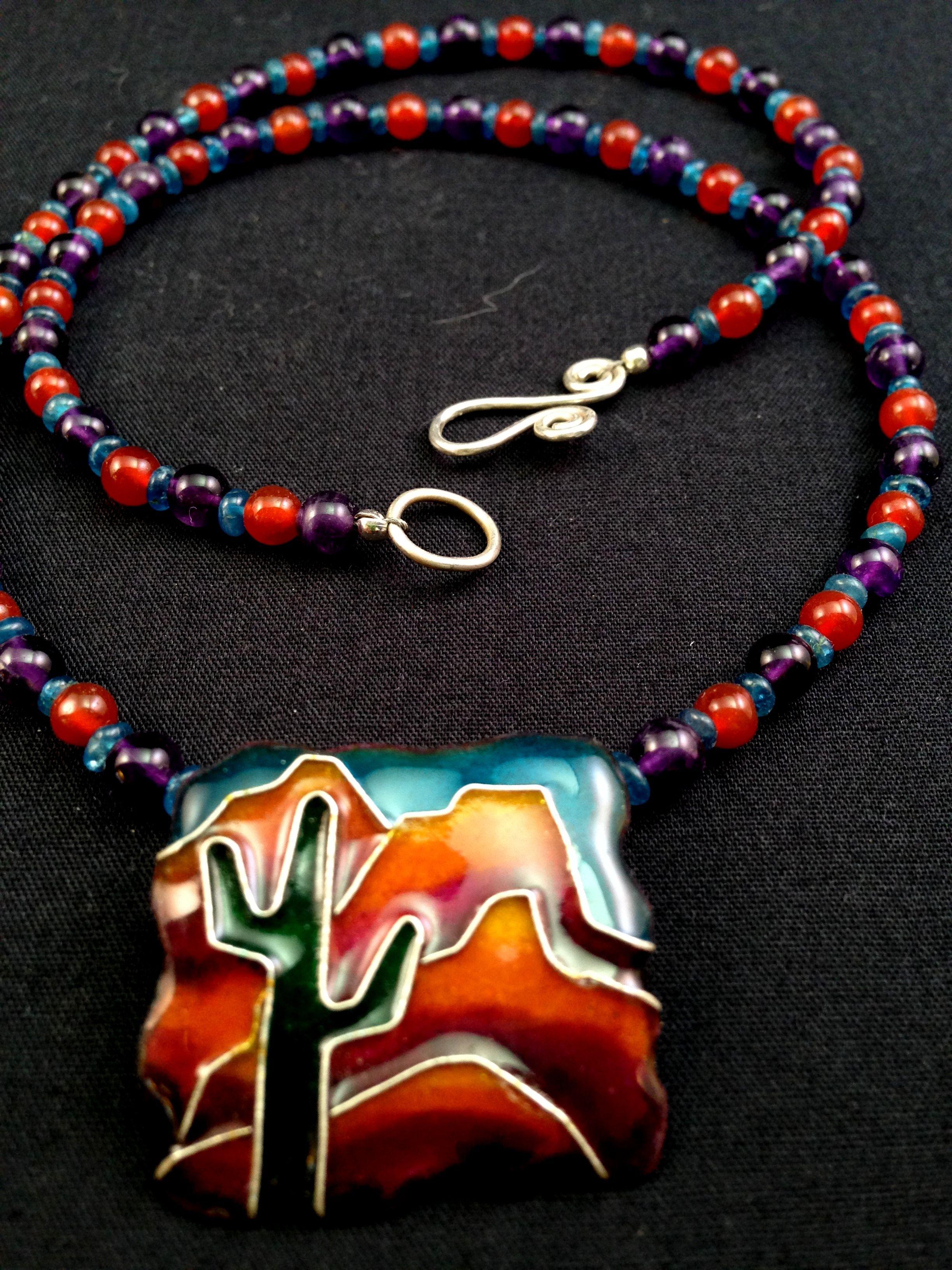 cloisonne enamel, natural gemstone beads Amethyst, apatite