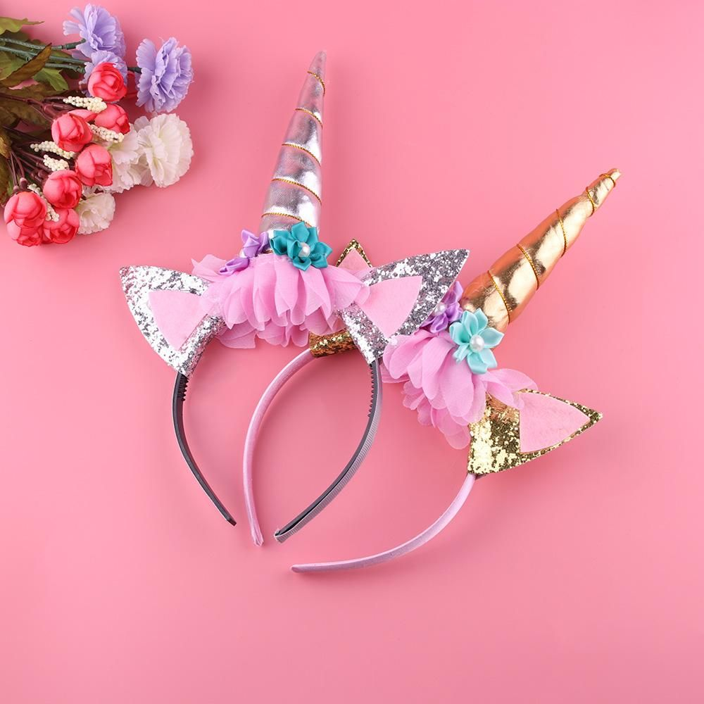 **NEW** Silver Magical Unicorn Headband Party Supplies Horn Kids Fancy Flowers