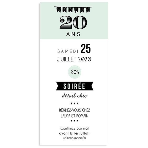 invitations anniversaire adulte vignettes 20 ans. Black Bedroom Furniture Sets. Home Design Ideas