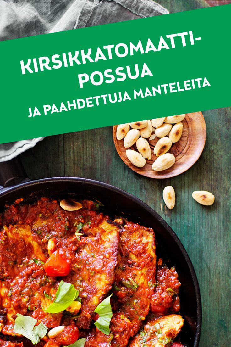 Herkullisen mureaa possua, tuhdisti tomaattia ja paahdettuja manteleita. Tämä yksinkertainen ja maistuva ruokalaji valmistuu kätevästi Maatiaispossun ainutlaatuisen ohueksi leikatuista, monikäyttöisistä ja mureista pihveistä. Ja mikä parasta, kirsikkatomaattipossu maistuu niin perunoiden, riisin kuin vaikkapa pastan ja raikkaan salaatin kanssa.  Katso resepti: http://www.snellman.fi/fi/reseptit/kirsikkatomaattipossua