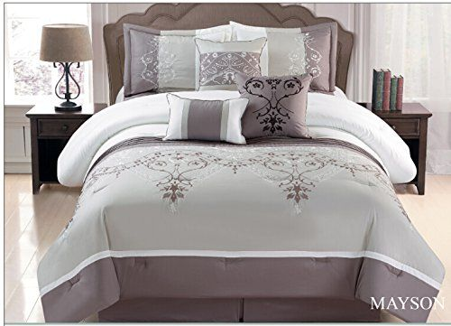 Taupe Off White Grey Fl 7 Pcs Embroidery Comforter Bedding Set Queen Visit