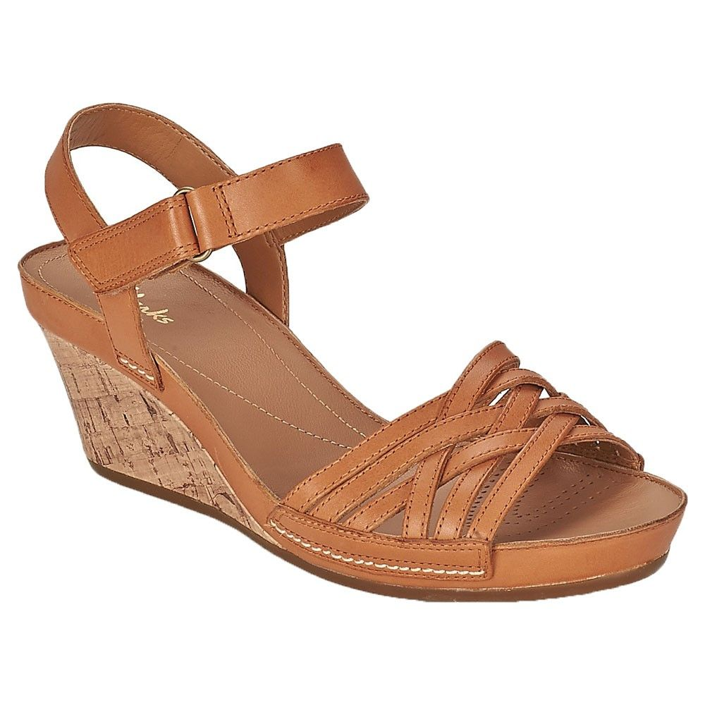 fe28bf3da9a Clarks Rusty Wish Tan Leather Ankle Strap Wedges