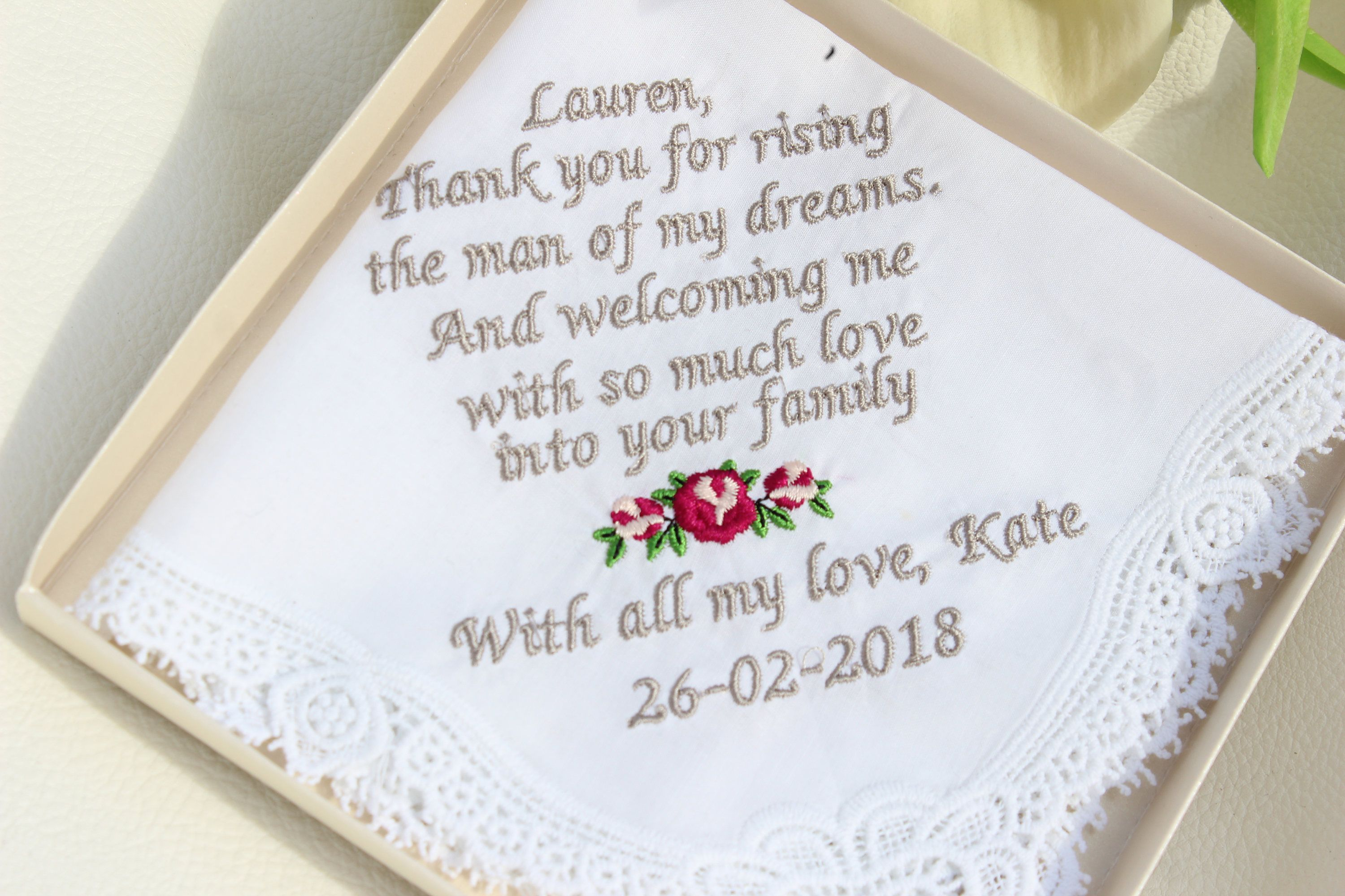Embroidered Personalized Wedding Gift Gift For Aunt Mother Of