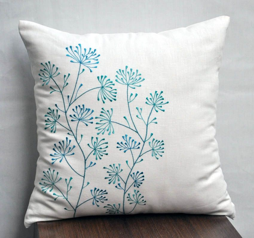 Teal flower pillow cover decorative