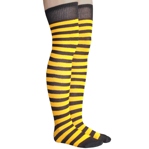 f95c7e02037 Black and golden yellow striped thigh high socks. Made in USA Chrissy s  Socks 877-862-6267