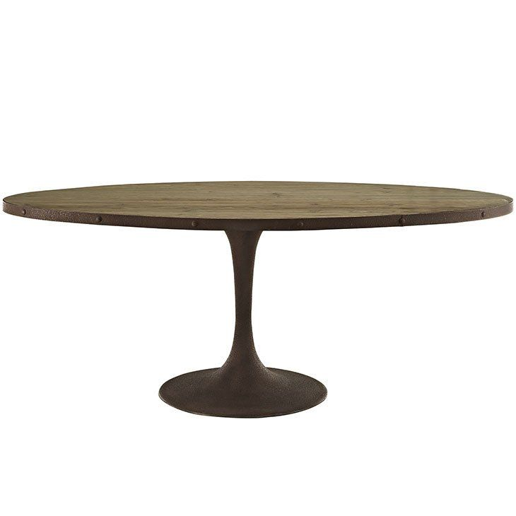 Oval Saarinen Style Tulip Table Distressed Wood Top And Brown Metal Base Many Sizes Oval Table Dining Dining Table Modern Oval Dining Table