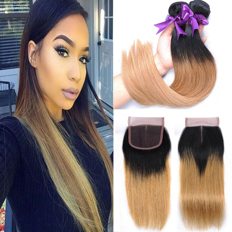 Brazilian Bundles With Closure #27 Honey Blonde Color Human Hair Weave 3 Bundles Curly Hair Extensions With 4x4 Lace Closure Human Hair Weaves