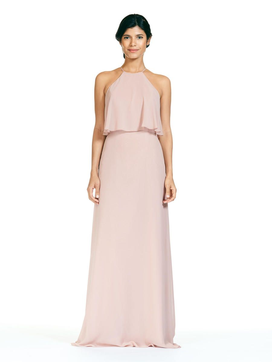 b197f6cd1af Bari Jay 1801 is a long Bella Chiffon bridesmaid dress with a high neck