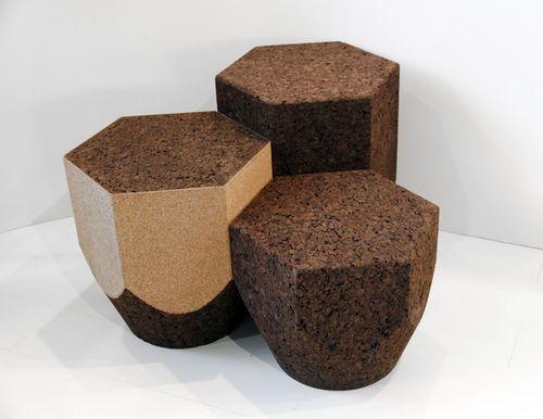 Original design cork side table PENCIL by Luís Nascimento BLACKCORK