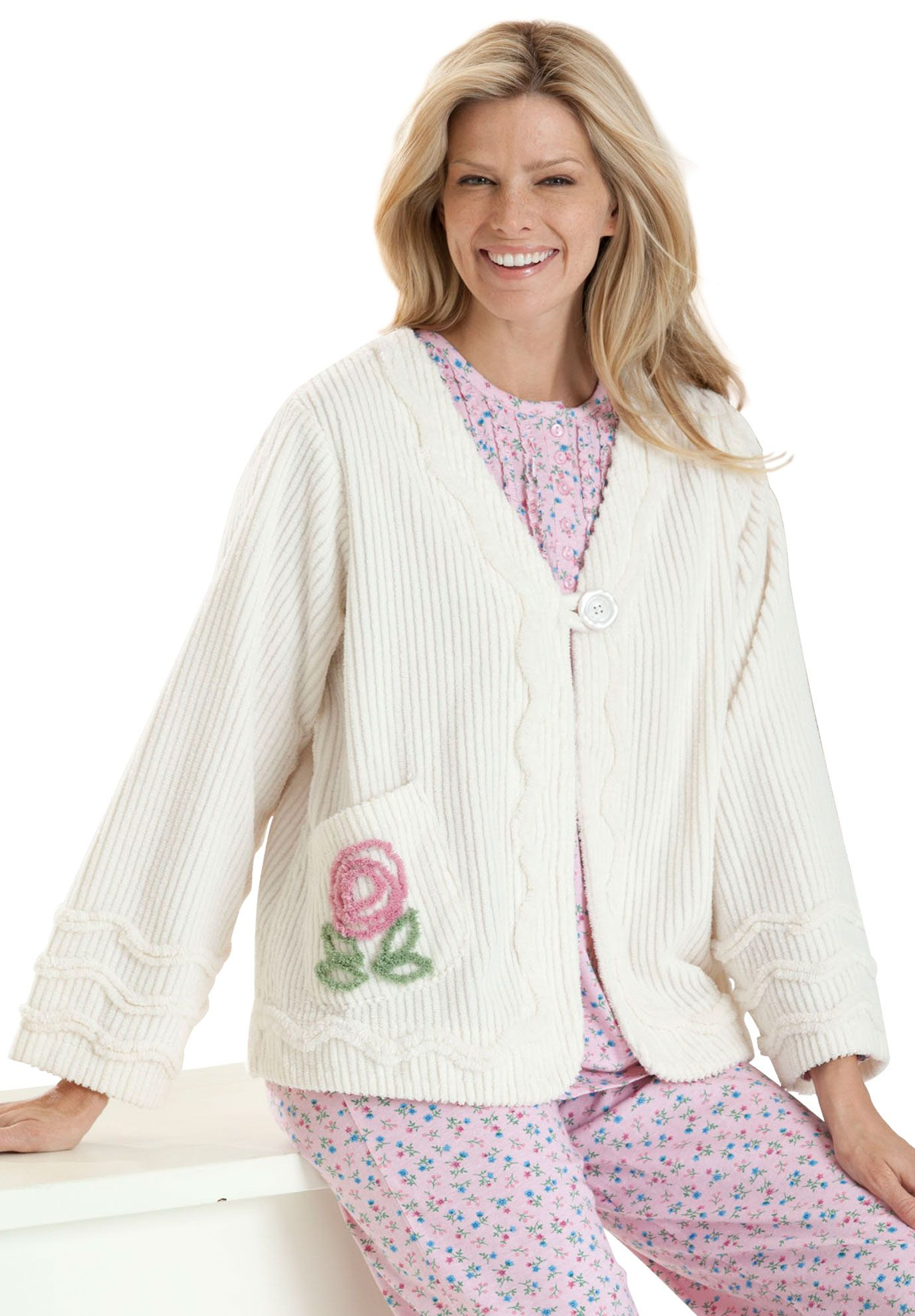 Pretty Bed Jacket In Plush Chenille Size Large Upcycle Clothes