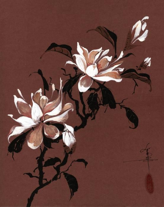Pin By Georgiana Paraschiv On Floral Flower Art Fine Art Painting Abstract Magnolia Paint